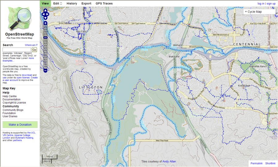 OSM Cycle Map Chatfield Area